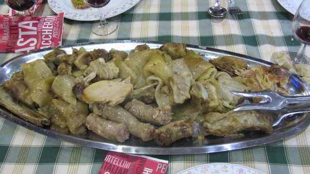 Platter of le frittole with sausage