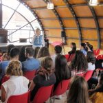 Karen Haid at the Liceo Classcio Europeo, Italian High School in Reggio Calabira