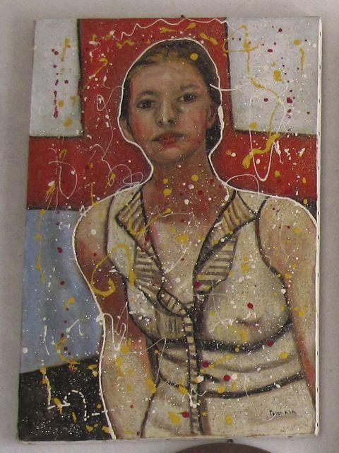 Salvatore Tonnara, Portrait of a Woman, mixed media on canvas