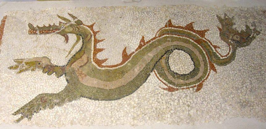Monasterace Museum, sea dragon mosaic
