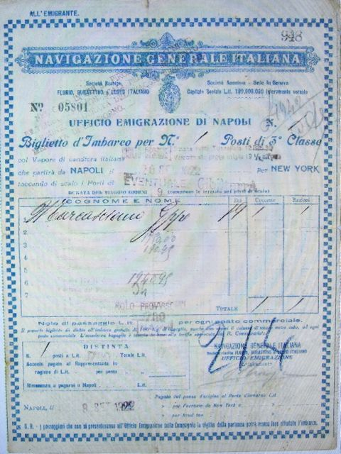 Italian Emigrant Ticket, 3rd class from Naples to New York